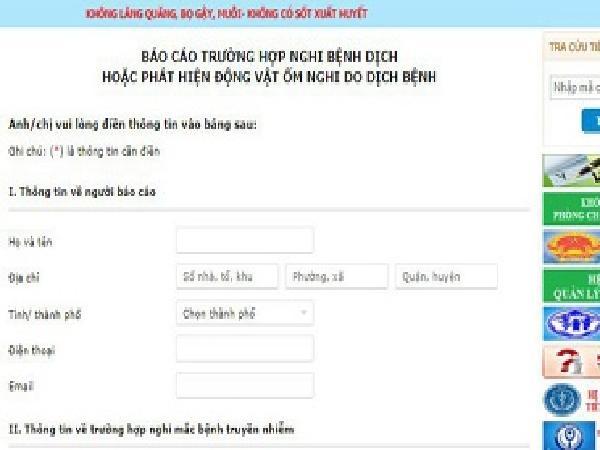 Triển khai hệ thống báo dịch chủ động online