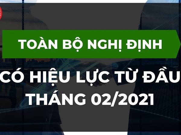 Những chính sách mới nổi bật có hiệu lực tháng 02/2021