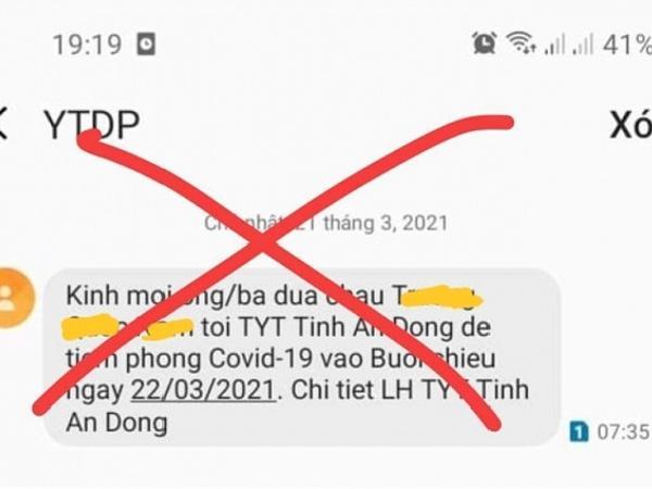 Xuất hiện tin giả thông báo người dân đi tiêm phòng COVID-19 ở Quảng Ngãi