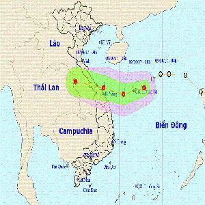 Áp thấp nhiệt đới tăng tốc tiến vào Quảng Bình - Đà Nẵng