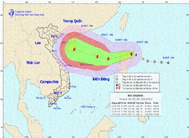 Áp thấp nhiệt đới đã mạnh lên thành bão, có tên Quốc tế Khanun mạnh cấp 12 vào Hoàng Sa