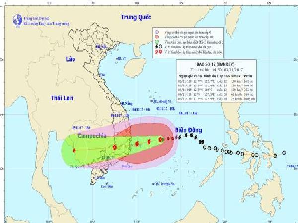 Sáng mai bão đi vào đất liền các tỉnh từ Nam Phú Yên đến Bắc Bình Thuận